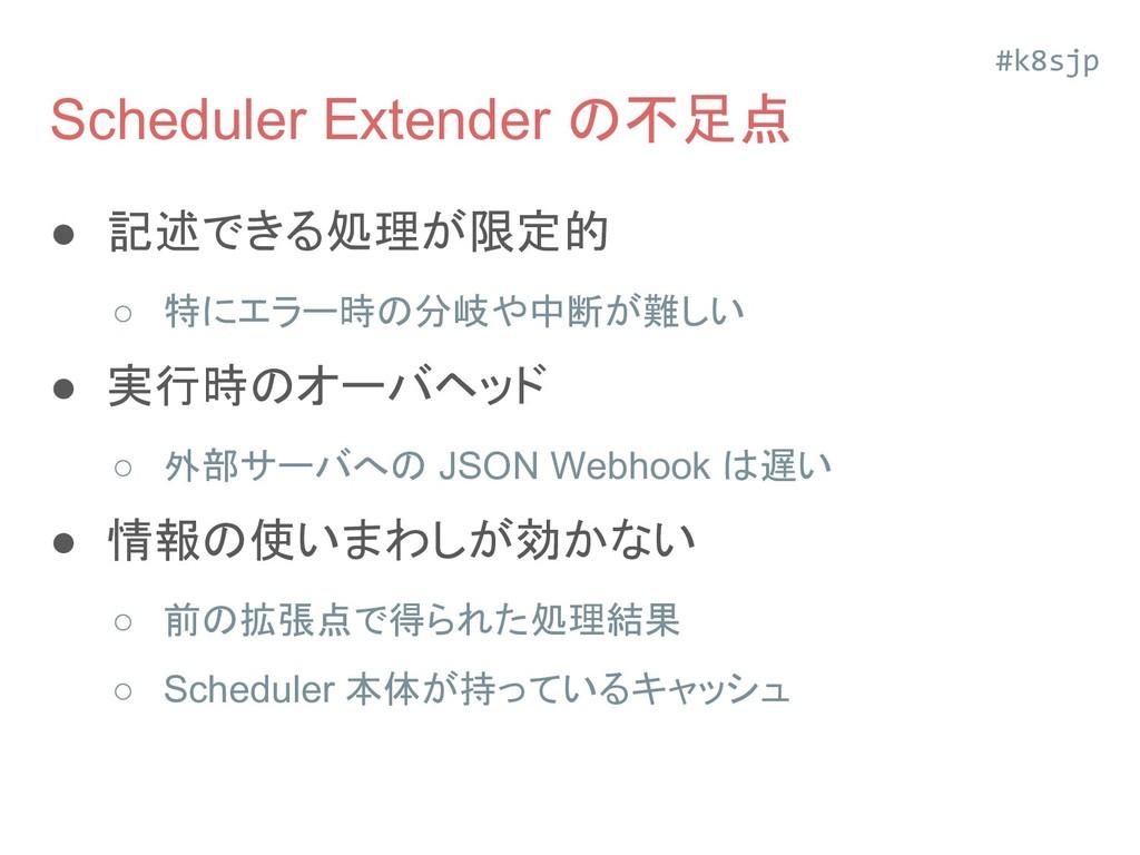 Scheduler Extender の不足点 ● 記述できる処理が限定的 ○ 特にエラー時の...