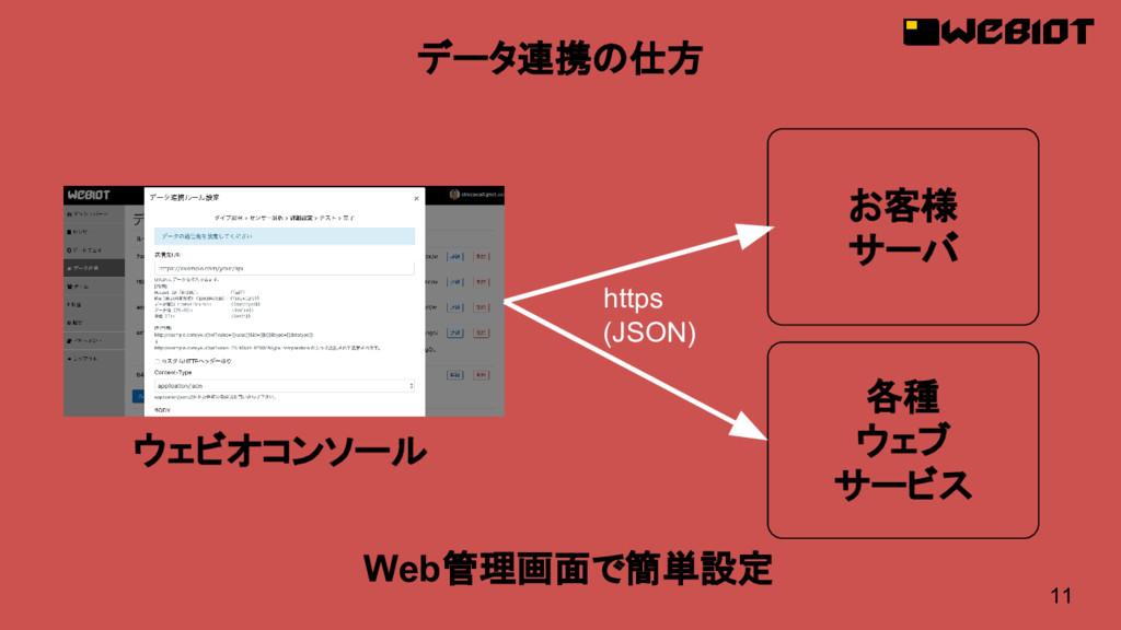 11 データ連携の仕方 Web管理画面で簡単設定 https (JSON) お客様 サーバ ウ...