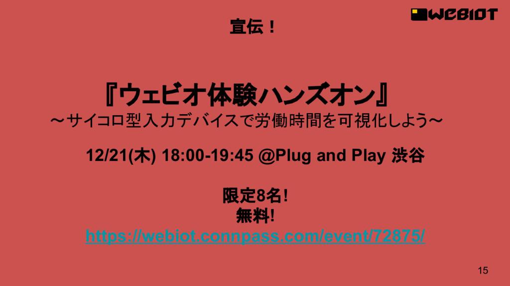 15 宣伝! 12/21(木) 18:00-19:45 @Plug and Play 渋谷 限...