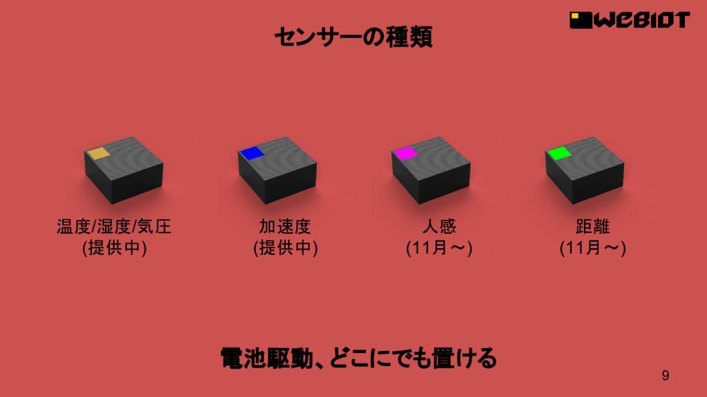 9 センサーの種類 温度/湿度/気圧 (提供中) 加速度 (提供中) 人感 (11月〜) 距離...