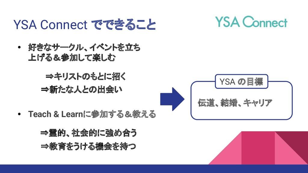 YSA Connect でできること • 好きなサークル、イベントを立ち 上げる&参加して楽し...