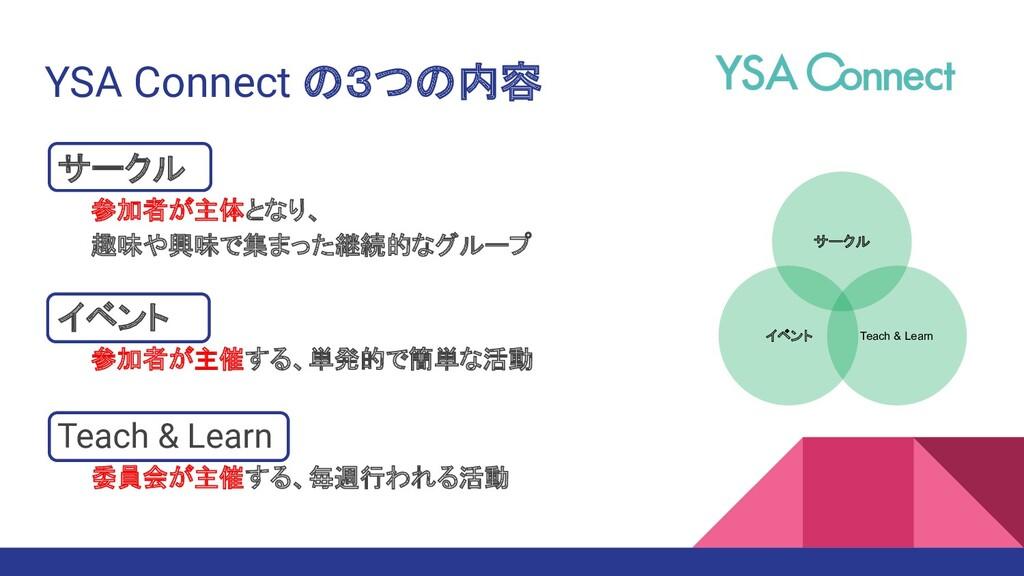 YSA Connect の3つの内容 サークル   参加者が主体となり、   趣味や興味で集ま...