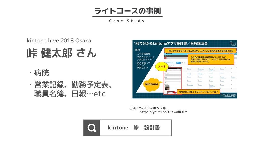 ライトコースの事例 C a s e S t u d y kintone 峠 設計書 kinto...