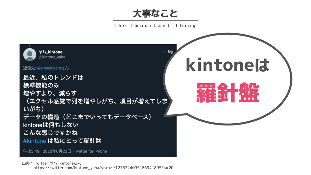大事なこと T h e I m p o r t a n t T h i n g kintone...
