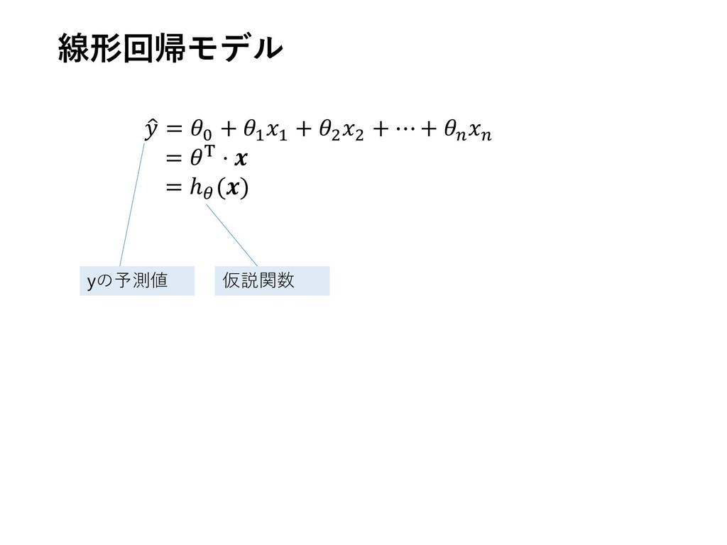 線形回帰モデル  = 0 + 1 1 + 2 2 + ⋯ +   = T ⋅  = ℎ () ...
