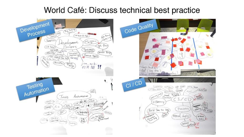 World Café: Discuss technical best practice Dev...