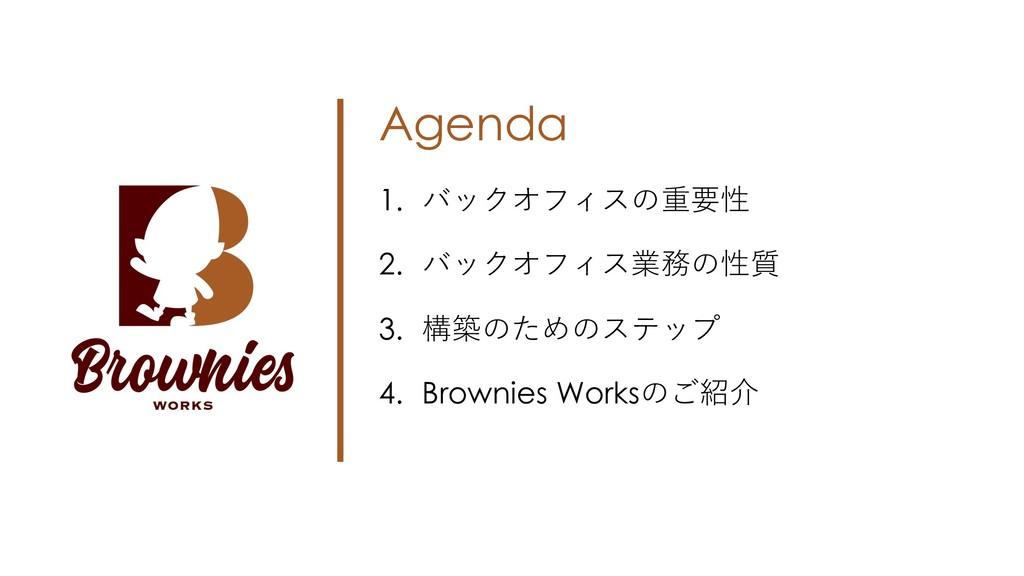Agenda 1. バックオフィスの重要性 2. バックオフィス業務の性質 3. 構築のための...