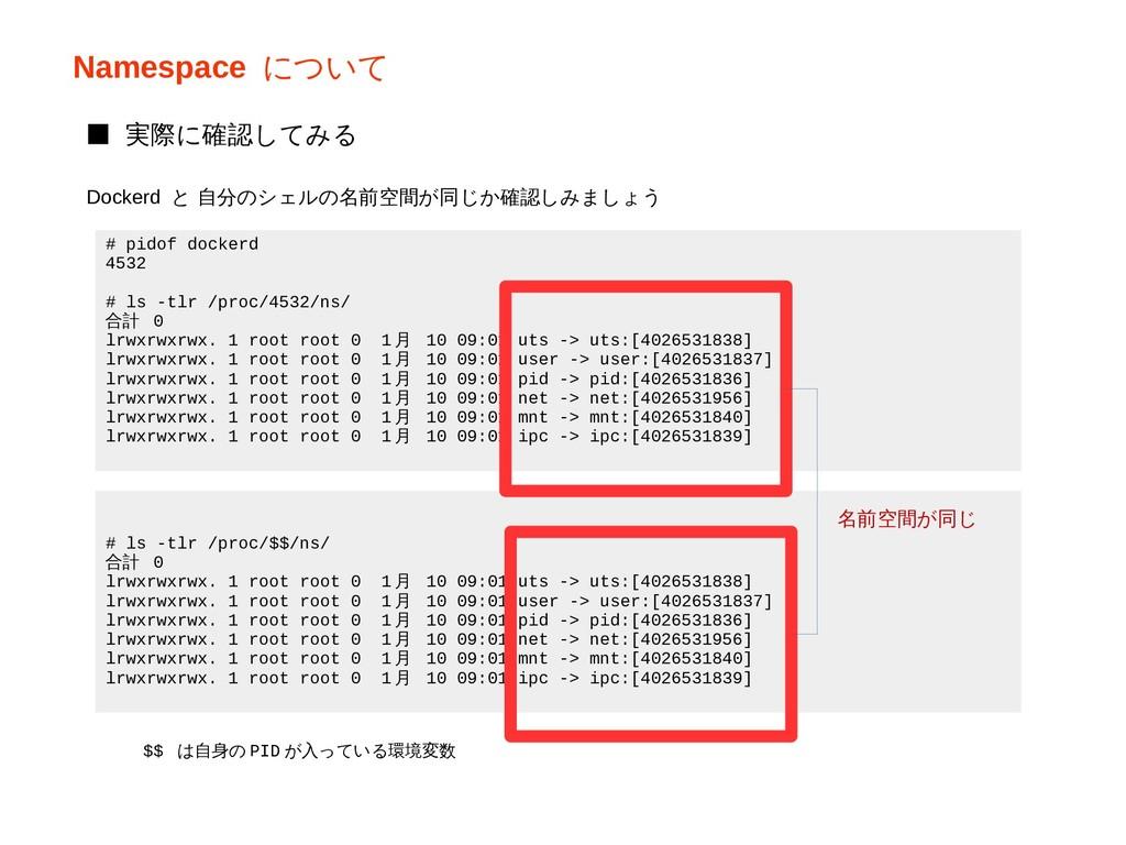 Namespace について # pidof dockerd 4532 # ls -tlr /...