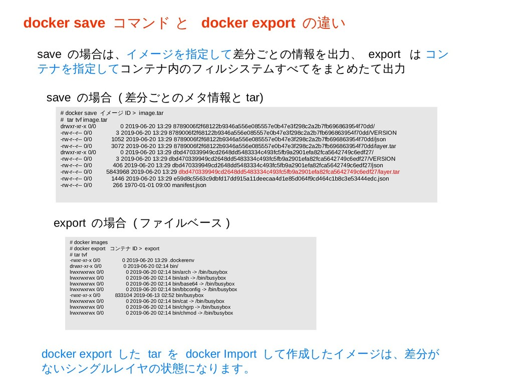 docker save コマンド と docker export の違い # docker s...
