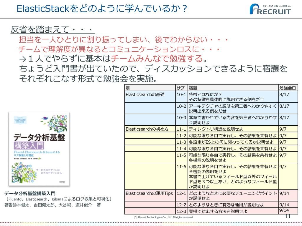 ElasticStackをどのように学んでいるか? 11 (C) Recruit Techno...