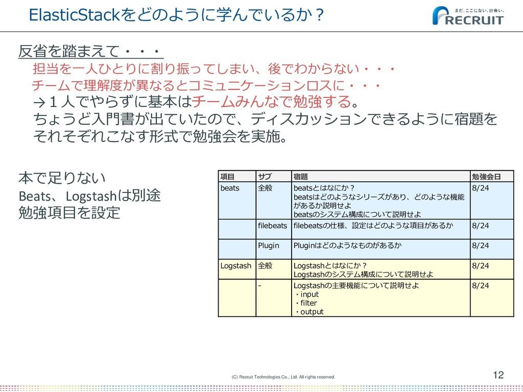 ElasticStackをどのように学んでいるか? 12 (C) Recruit Techno...
