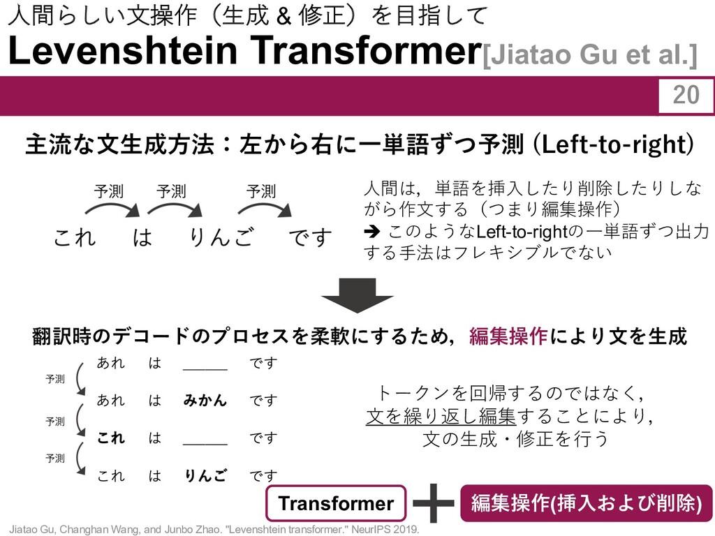 ⼈間らしい⽂操作(⽣成 & 修正)を⽬指して Levenshtein Transformer[...
