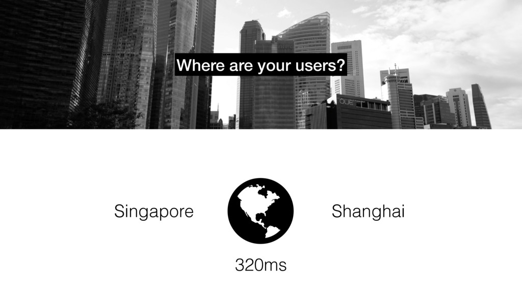 "Where are your users? "" Singapore Shanghai 320ms"