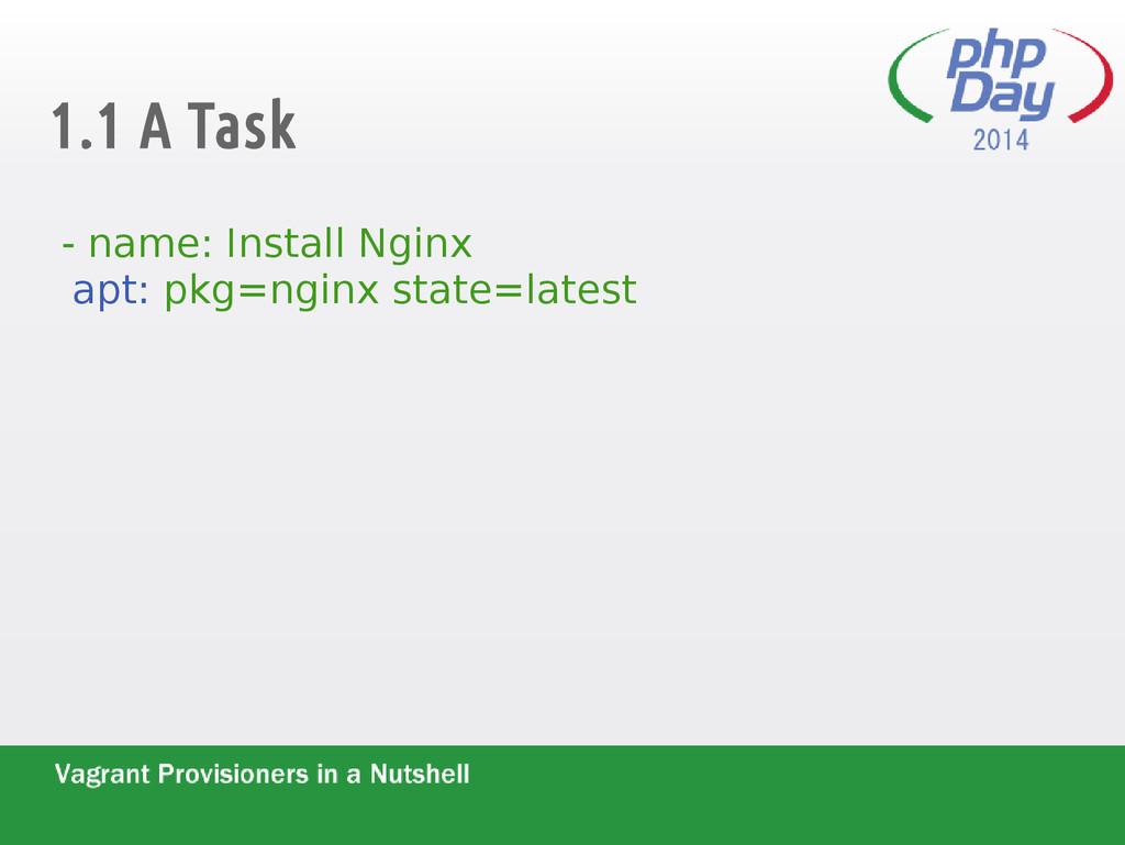 1.1 A Task - name: Install Nginx apt: pkg=nginx...