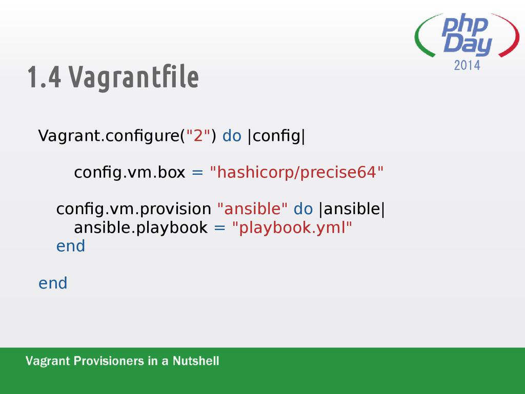 """1.4 Vagrantfile Vagrant.configure(""""2"""") do  conf..."""
