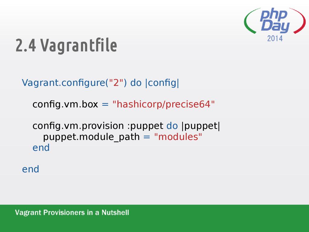 """2.4 Vagrantfile Vagrant.configure(""""2"""") do  conf..."""
