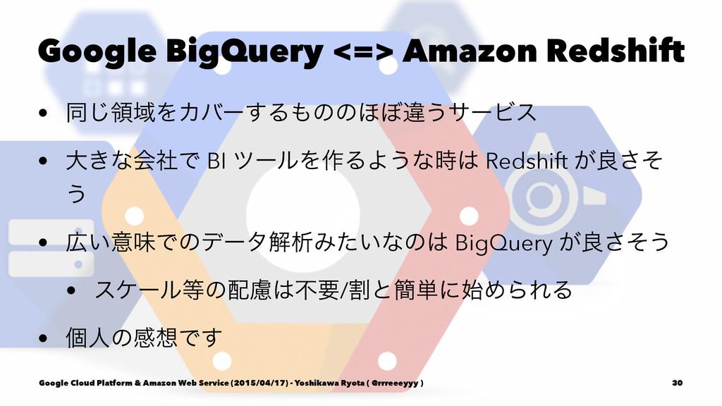 Google BigQuery <=> Amazon Redshift • ಉ͡ྖҬΛΧόʔ͢...