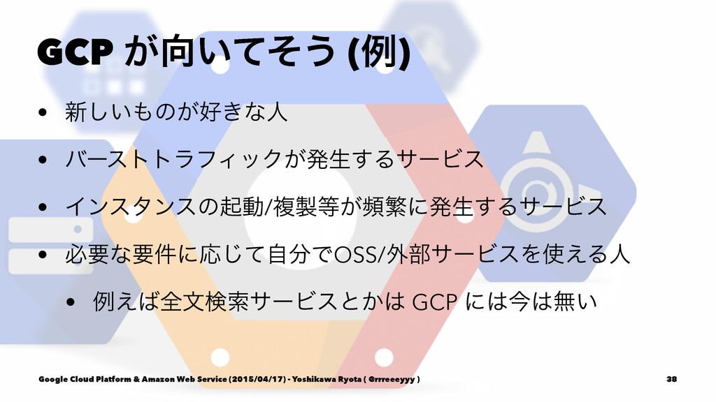 GCP ͕͍ͯͦ͏ (ྫ) • ৽͍͠ͷ͕͖ͳਓ • όʔεττϥϑΟοΫ͕ൃੜ͢Δαʔ...