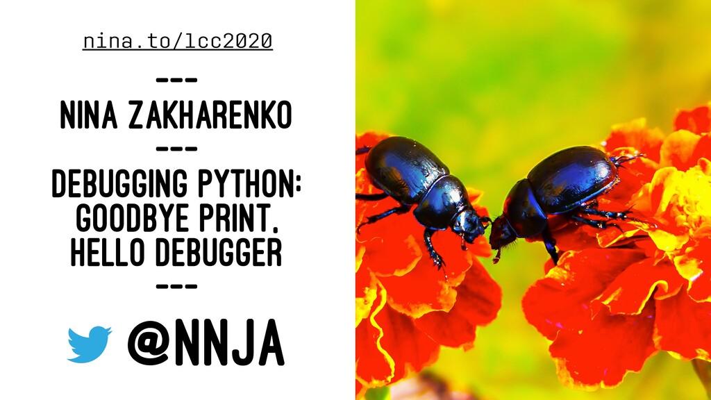 nina.to/lcc2020 --- NINA ZAKHARENKO --- DEBUGGI...