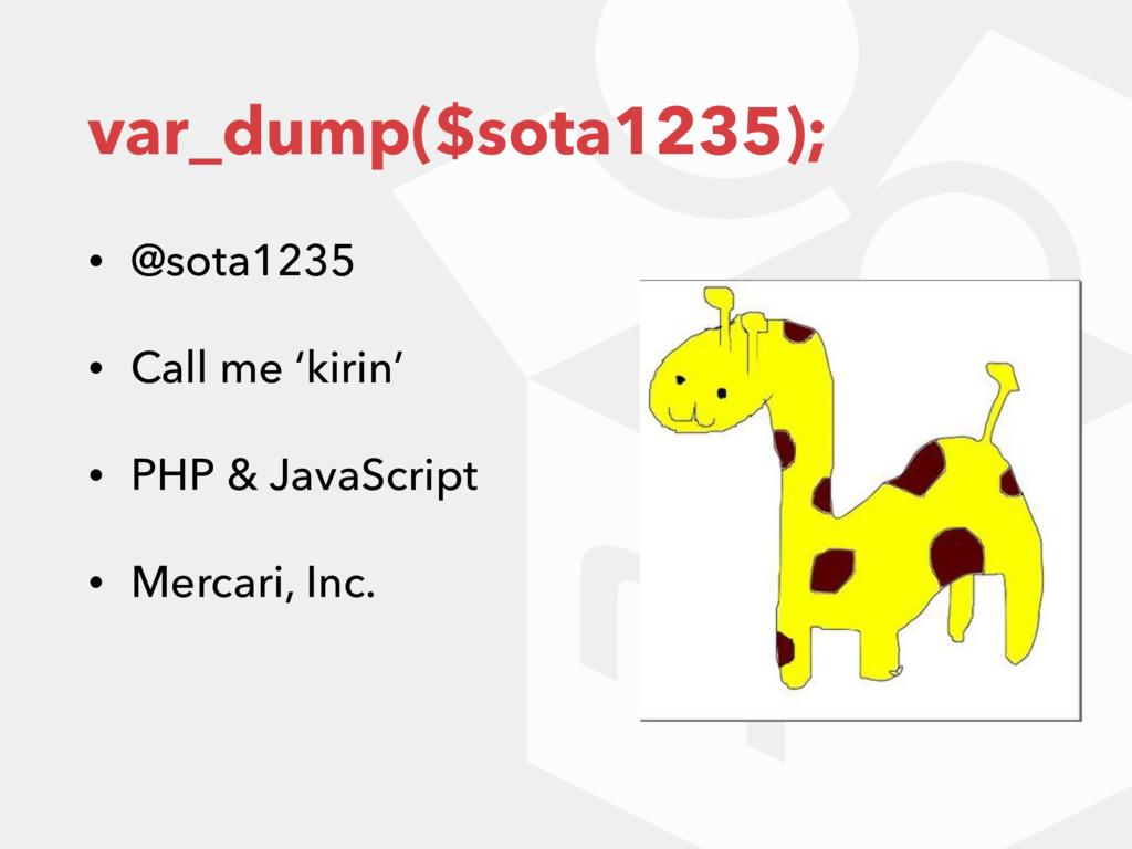 var_dump($sota1235); • @sota1235 • Call me 'kir...
