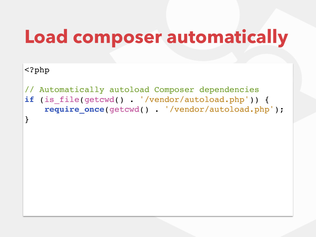 <?php // Automatically autoload Composer depend...