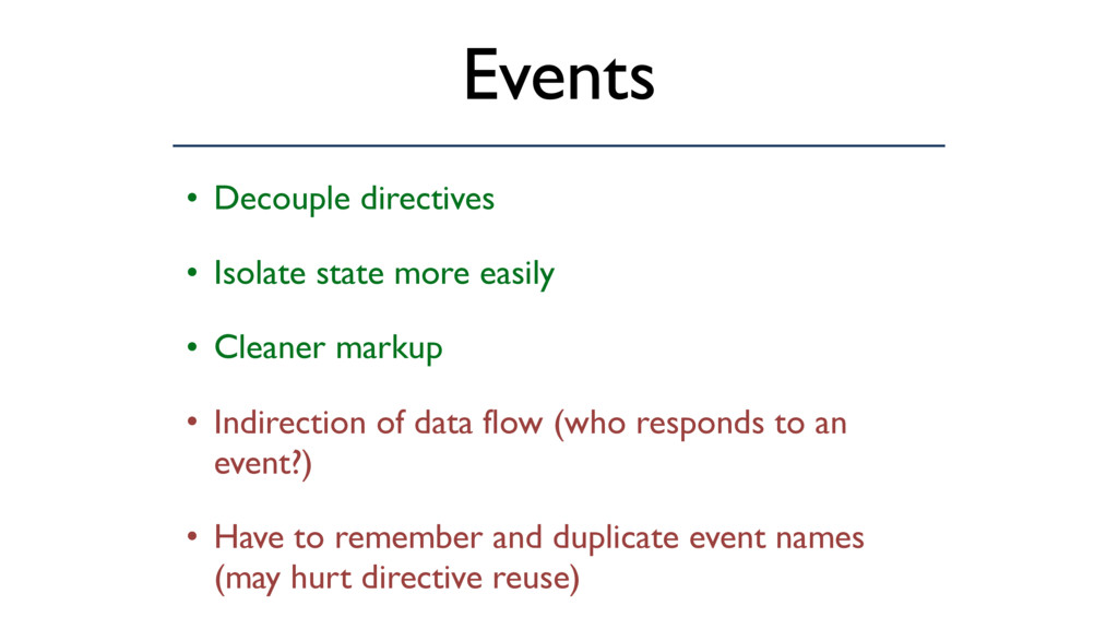 Events • Decouple directives • Isolate state mo...