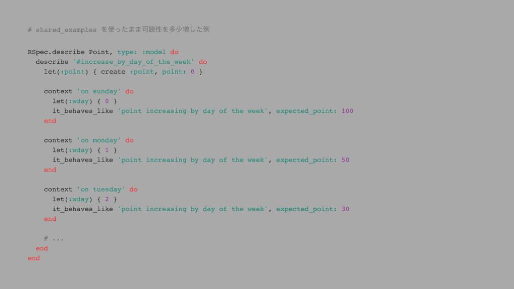 # shared_examples Λͬͨ··ՄಡੑΛଟগ૿ͨ͠ྫ RSpec.descri...