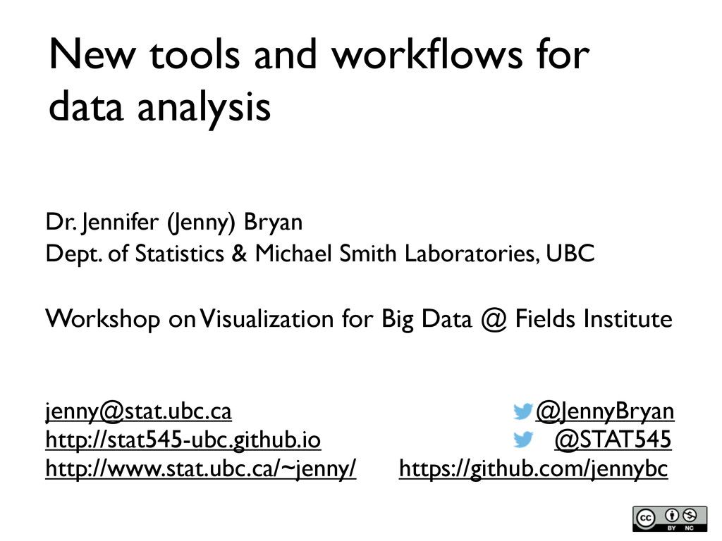 New tools and workflows for data analysis Dr. Je...