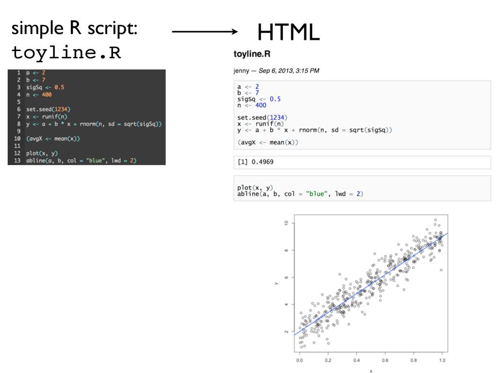 simple R script: toyline.R HTML