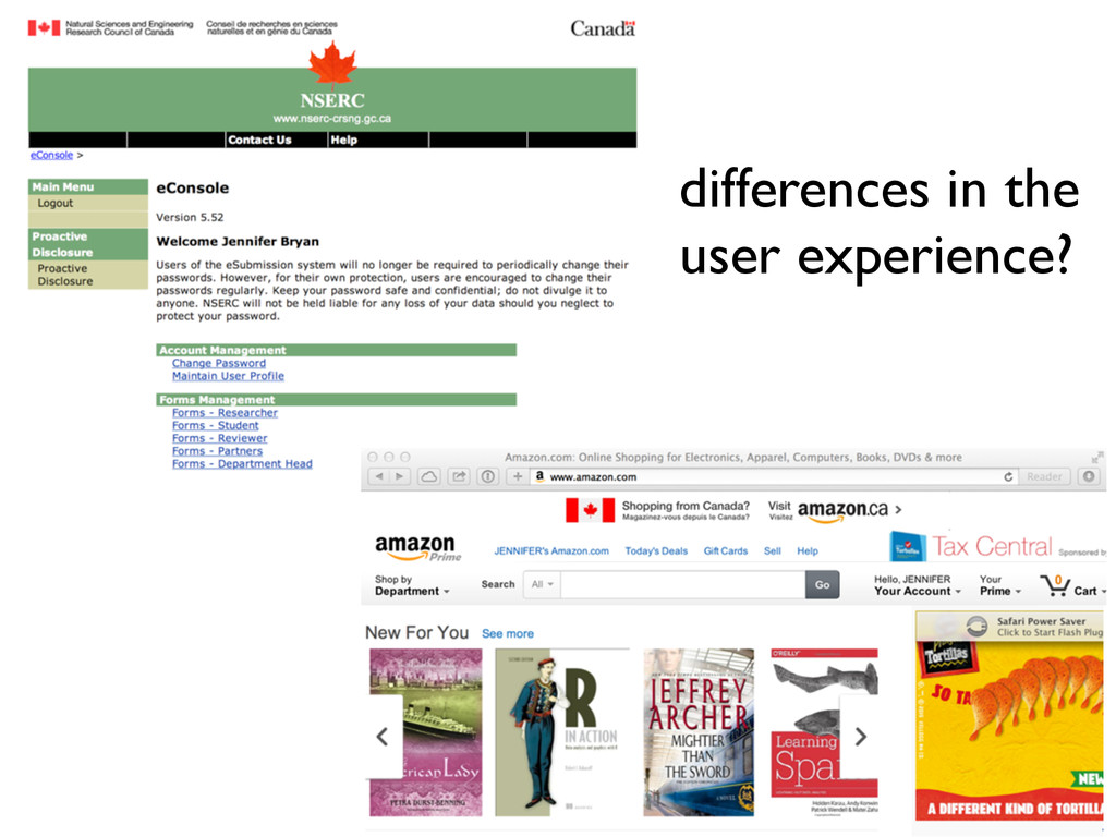 differences in the user experience?