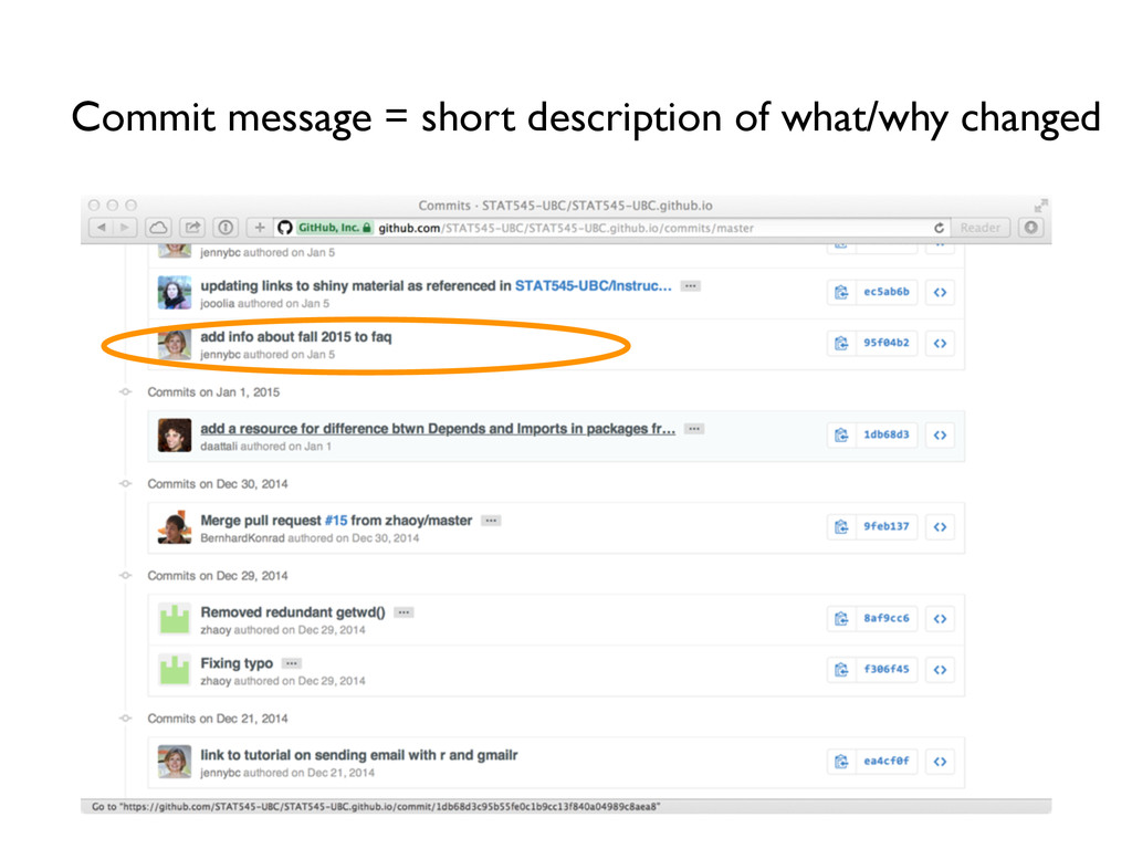 Commit message = short description of what/why ...