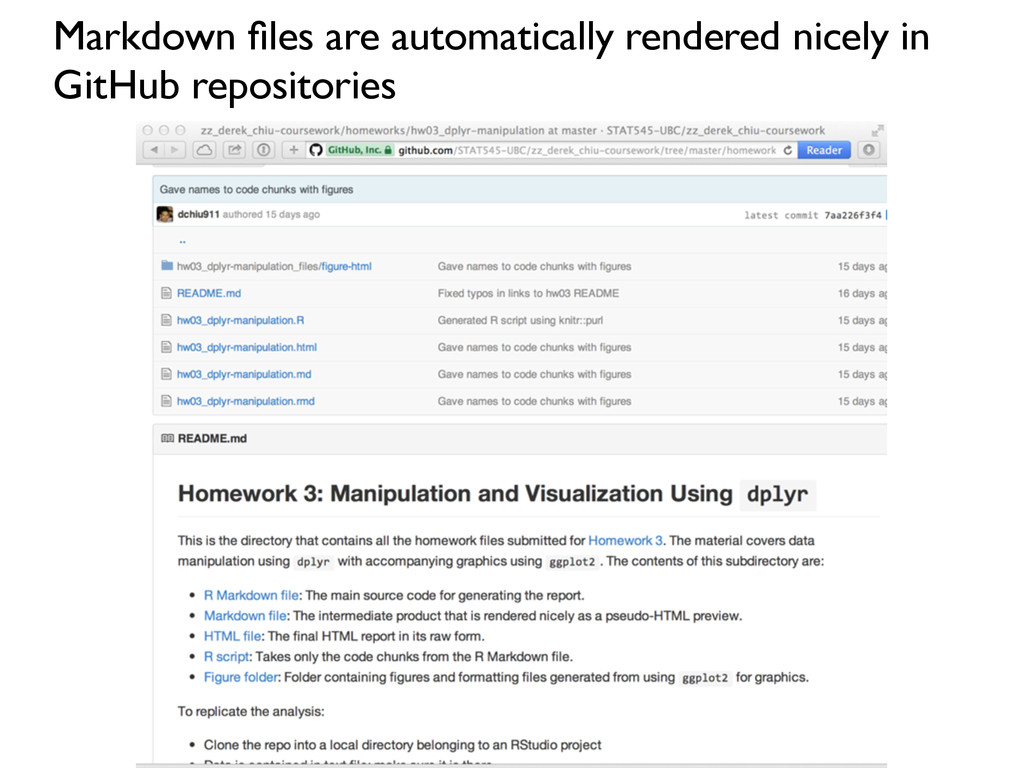 Markdown files are automatically rendered nicely...