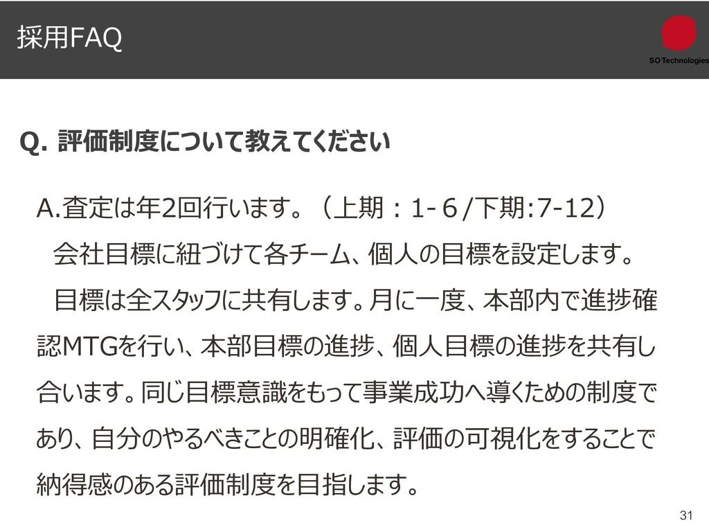 31 Q. 評価制度について教えてください A.査定は年2回行います。(上期:1-6/下期:7...