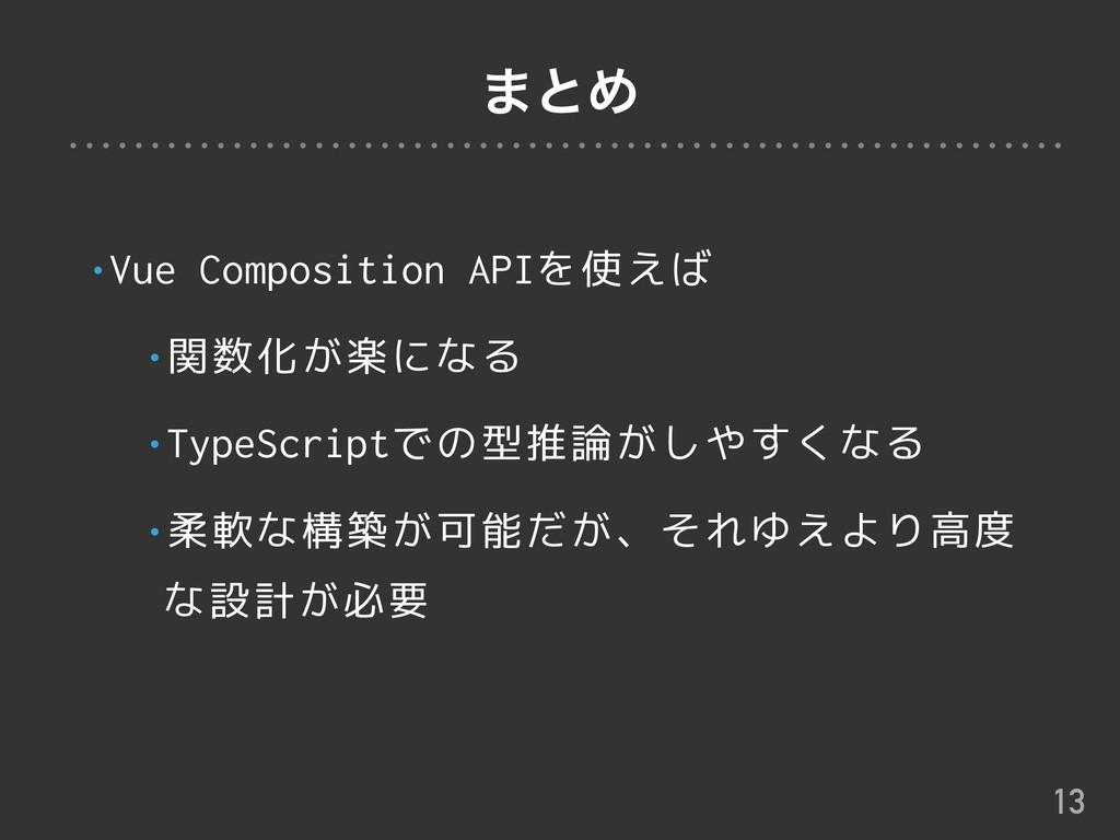 ·ͱΊ •Vue Composition APIを使えば •関数化が楽になる •TypeScr...