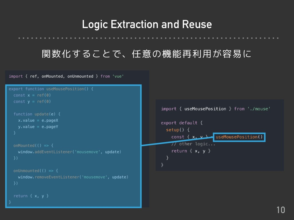 Logic Extraction and Reuse 関数化することで、任意の機能再利用が容易...