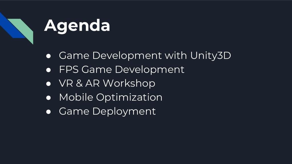 Agenda ● Game Development with Unity3D ● FPS Ga...
