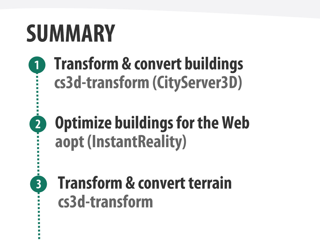 SUMMARY Transform & convert buildings Optimize ...