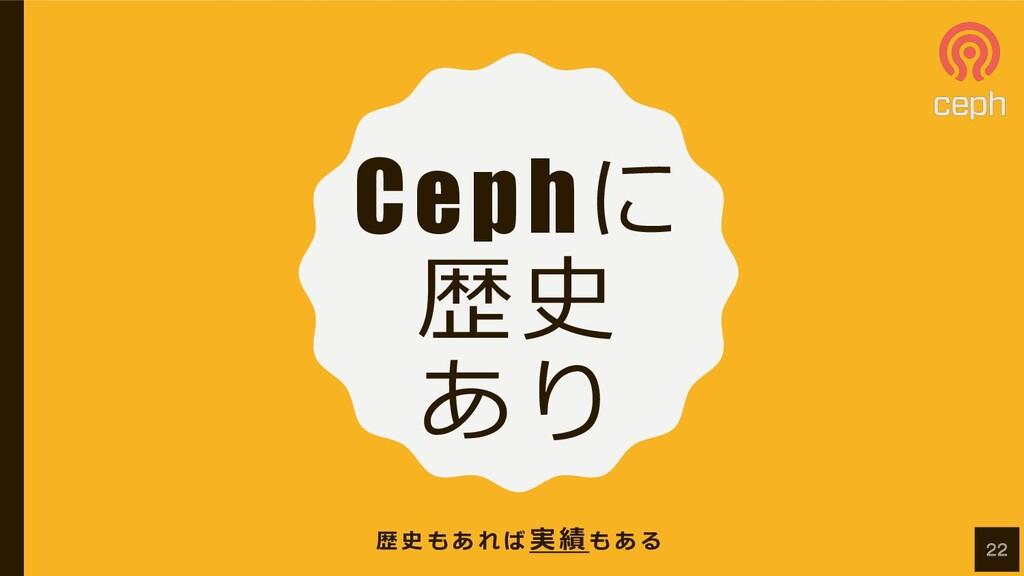 Cephに 歴史 あり 歴 史 も あ れ ば 実 績 も あ る 22