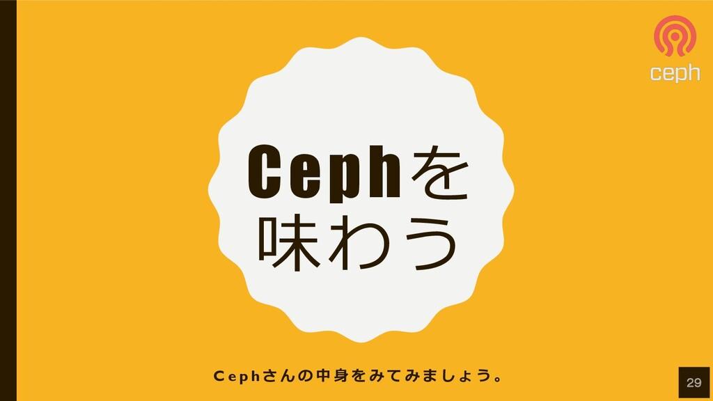 Cephを 味わう C e p h さ ん の 中 ⾝ を み て み ま し ょ う 。 29