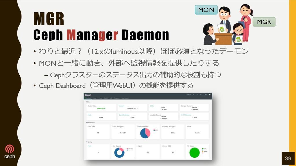 MGR Ceph Manager Daemon • わりと最近︖(12.xのluminous以...