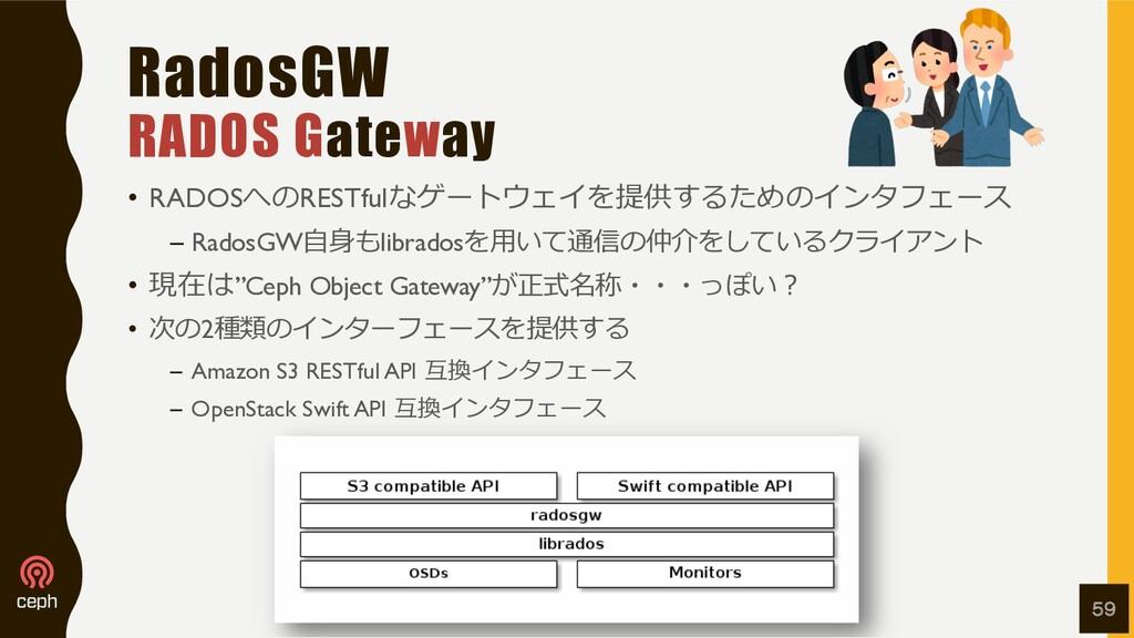 RadosGW RADOS Gateway • RADOSへのRESTfulなゲートウェイを提...