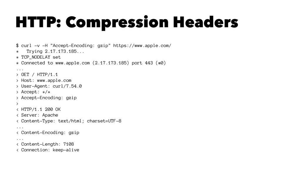 "HTTP: Compression Headers $ curl -v -H ""Accept-..."