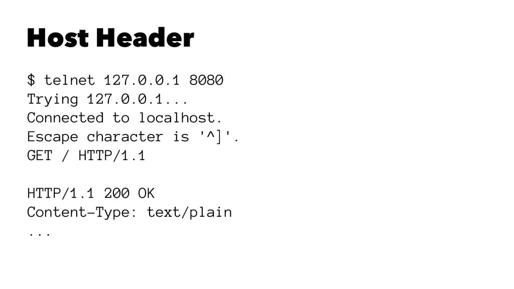 Host Header $ telnet 127.0.0.1 8080 Trying 127....