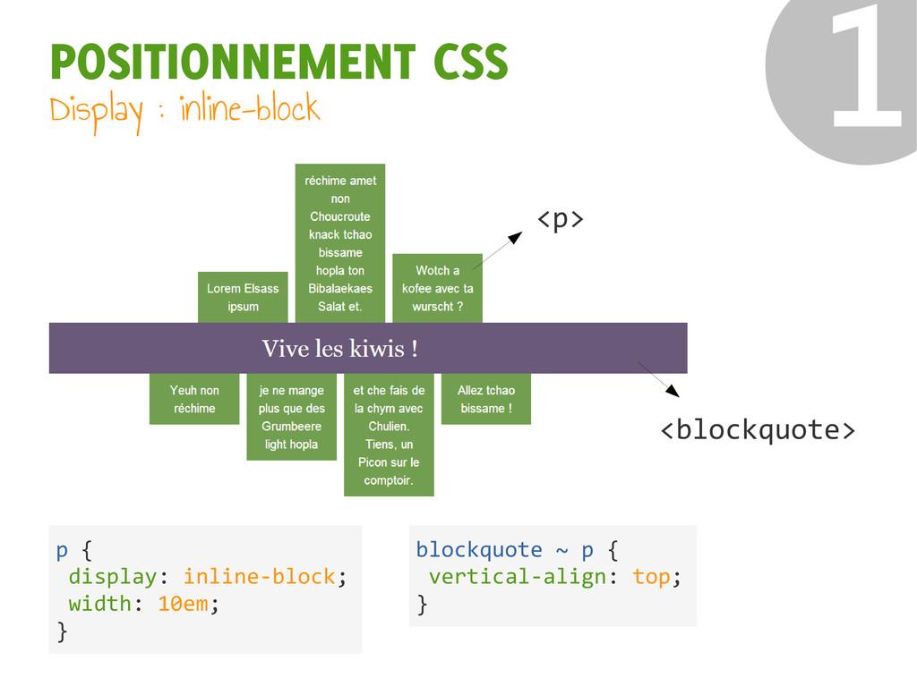 ❶ POSITIONNEMENT CSS Display : inline-block <p>...