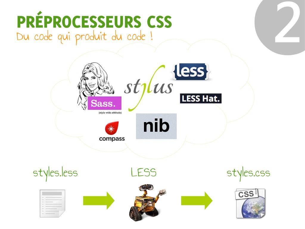 PRÉPROCESSEURS CSS Du code qui produit du code ...