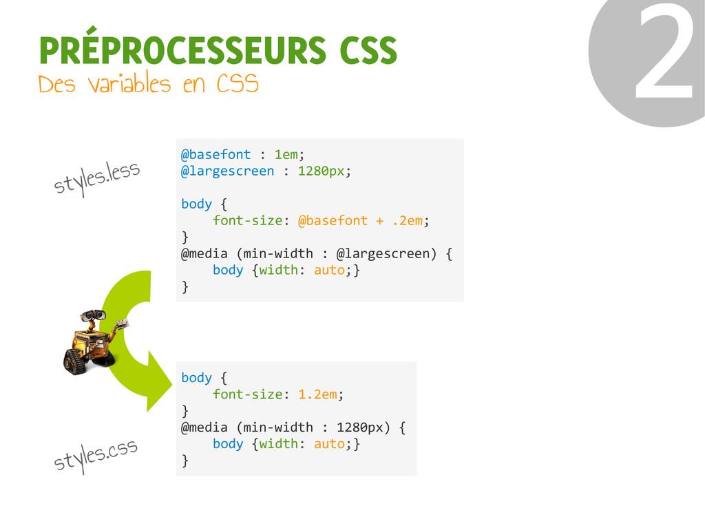 PRÉPROCESSEURS CSS Des variables en CSS ❷ @base...