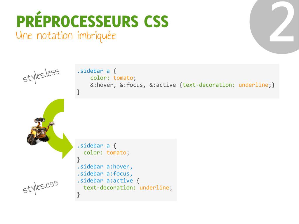 PRÉPROCESSEURS CSS Une notation imbriquée ❷ sty...