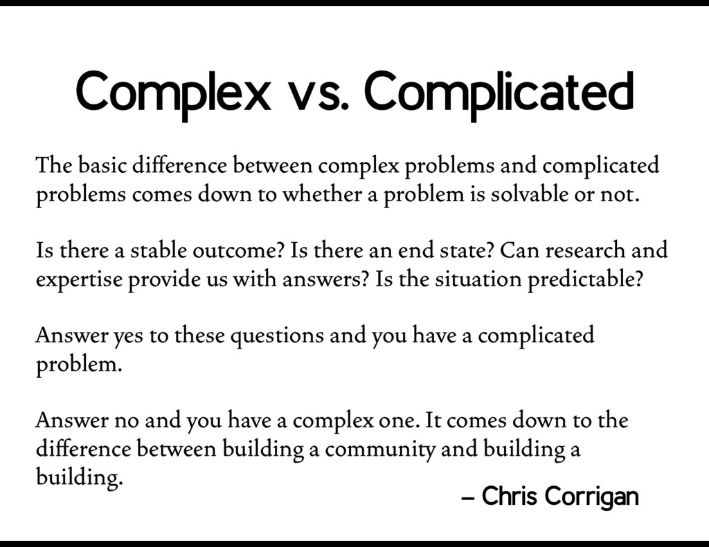 The basic difference between complex problems an...