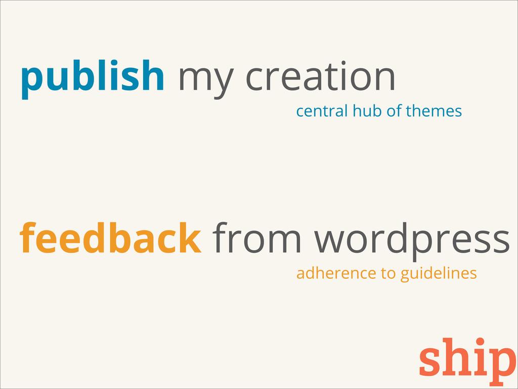 ship publish my creation feedback from wordpres...
