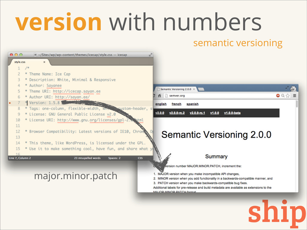 version with numbers semantic versioning ship m...